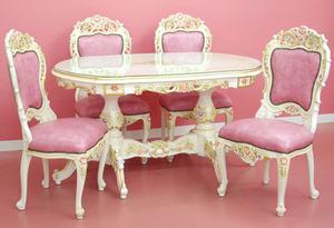 特価!アンティーク調ロココ調薔薇ローズのダイニングテーブル ロココ調ピンクローズピンクのダイニングチェア4脚セット