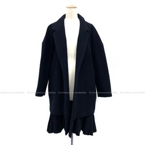 YOKO CHAN ヨーコチャン レイヤードスタイル コート ウール ネイビー 38 YCC-314-031