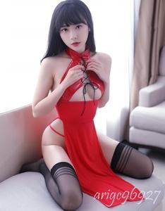 セクシー 光沢 美胸美脚 スリット ワンピース ベビードール コスプレ衣装 仮装 コスチューム