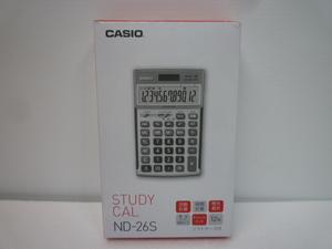 未使用保管品 CASIO カシオ 電卓 ND-26S 12桁 ソーラー電池 ソフトケース付き STUDY CAL プロ用実務電卓