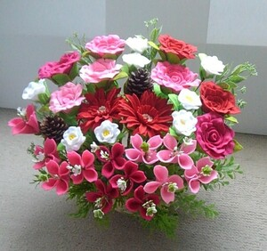 フェルトで作った素敵な花かご-281