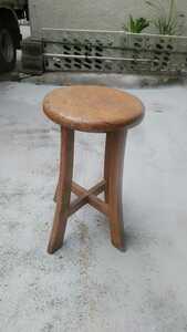 木製丸椅子 昭和レトロ 腰掛け 花台