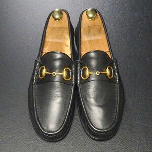 GJ0261//イタリア製*グッチ/GUCCI*1953コレクション/メンズ6.5/ホースビットローファー/レザースリッポン/ローファー/革靴/黒/ブラック