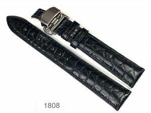1円~|1808|ラグ幅18mm|A級品.アリゲーター.クロコダイル|ワニ革|Dバックル|時計ベルト|売切り|処分