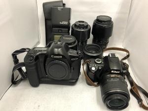 【ジャンク品】Canon EOS-1N 一眼フィルムカメラ Nikon D60 一眼レフカメラ ボディ計2台 動作未確認 レンズ 計5本 ストロボ1個 まとめ売り