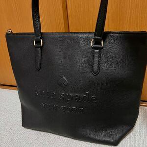 【美品】kate spadeケイトスペードA4トートバッグ トートバッグ レザートートバッグ 大容量 ビジネストートバッグ 黒