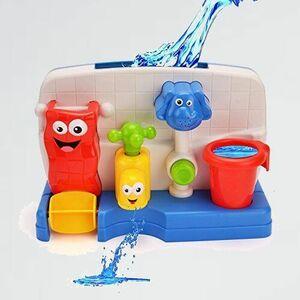 新品 目玉 入浴おもちゃ ミニ浴室玩具セット 5-5G 象 知育玩具 お風呂用 水遊び ミニ水車 蛇口 噴水