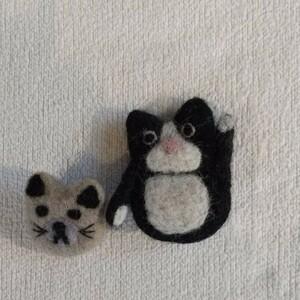 ハンドメイド猫ブローチセット