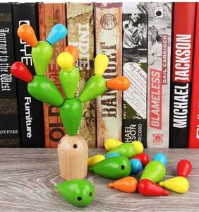 知育玩具 積み木 サボテン 木製パズル バランスゲーム 幼児 着手力 色認識