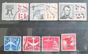 米国/アメリカ 航空切手 1958~1963 13~25c:自由の鐘、自由の女神像、リンカーン大統領、ジェット機など 7種 使用済み
