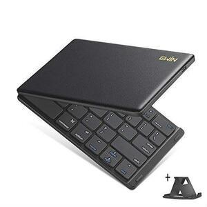 特価 Ewin 新型 Bluetoothキーボード 折りたたみ式 157g 超軽量 薄型 レザーカバー 財布型 ワイヤレスキーボード USB 薄型