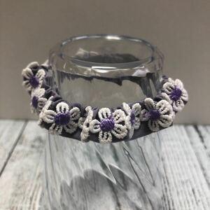 首輪 子猫用 紫(ベルト部分)×紫(花部分) シュシュタイプ(子犬・小動物も可)