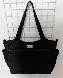 黒・帆布のファスナーポケット&サイドポケット付きトートバッグ☆ハンドメイド