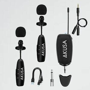 未使用 新品 ワイヤレスマイク AKUSA K-H4 二人用セット 2台送信機&1台受信機 クリップマイク ピンマイク pc 充電式 スマホ 録音