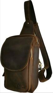 Fujimond厚手本革ボディバッグ 高品質 ショルダーバッグ メンズバッグ ワンショルダーバッグ 斜め掛けバッグ 大容量