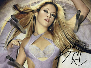 歌手 シャキーラ直筆サイン シーウルフ El Dordo Shakira Sale el Sol Oral Fixation コロンビア出身のラテンポップシンガー 横25×縦20