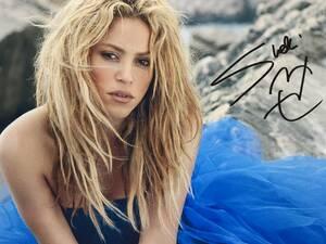 歌手 シャキーラ直筆サイン シーウルフ El Dordo Shakira Sale el Sol Oral Fixation コロンビアのラテンポップシンガー 横25×縦20