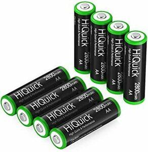 単3形 HiQuick 単3充電池 電池 単3 充電式 ニッケル水素 充電池 2800mAh 8本入り ケース2個付ォ 約120