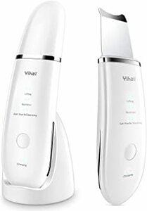 白い 【3つモード&充電スタンド付き】 ウォーターピーリング 防水 超音波 美顔器 EMS イオン導入 イオン導出 2階