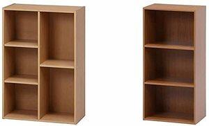 メープル 不二貿易 カラーボックス 2列 幅59cm メープル 大容量 57093 & カラーボックス 3段 幅42cm