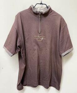 ■adabat アダバット シャツ  半袖 Tシャツ ゴルフウェア スタンドカラー 紫 刺繍 Mサイズ 日本製