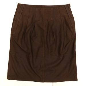 MaxMara マックスマーラ ヤギ革 ゴートレザー スカート ゆったり 大きいサイズ 42 茶 ブラウン レディース 女性用 婦人