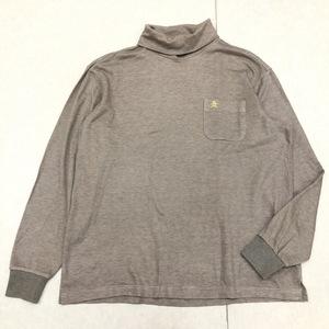 MUNSINGWEAR マンシングウェア ロゴ刺繍 タートルネック ゴルフシャツ L ブラウン メンズ 長袖 日本製 国内正規品