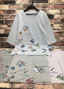 送料無料!快適・綿100%!レディース細ボーダーロング丈7分袖Tシャツ(8種から)1枚