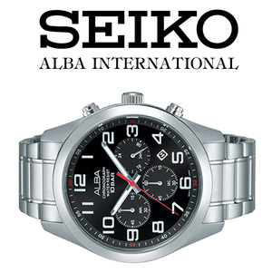 1円×3本ALBA逆輸入モデル海外機種 ブラックBLACKフェイス100m防水 クロノグラフ新品 メンズ激レア入手困難アルバ日本未発売SEIKO腕時計