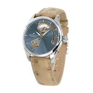 ハミルトン ジャズマスター オープンハート オート 36mm メンズ レディース 腕時計 H32215840 HAMILTON ブルーグレー×ベージュ 革ベルト