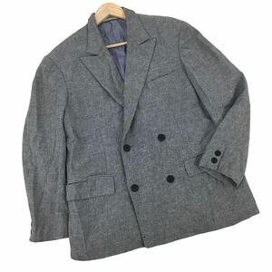 m164 日本製 Y's for men YOHJI YAMAMOTO ヨウジヤマモト ダブル テーラード ジャケット ブレザー ナイロン混 ウール メンズ 紳士 グレー