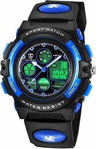新品 9-蛍光ブルー 子供腕時計 ボーイズスポーツウォッチ アウトドア多機能防水 アラート 日付曜日表示 デュアルタ423V