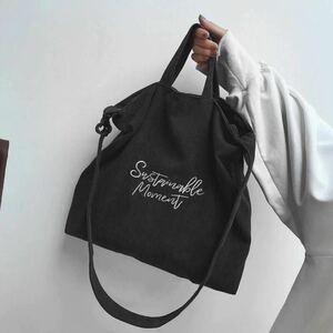 キャンバスバッグ レディース 刺しゅう ショルダーバッグ 大容量 トートバッグ 黒