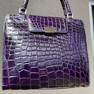 【最高級革 クロコダイル】高級シャイニング 2way 美品 紫 パープル crocodile リアル 本革 ワニ革