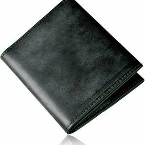 ★送料無料★新品 財布 メンズ 2つ折り 薄い 小さい 薄い ブライドルレザー 本革 小銭入れ ミニ財布 (dark green)