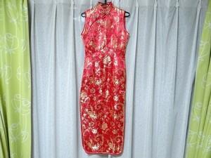 新品 皇朝服布 チャイナドレス 花柄 赤色 コスプレ 衣装 Sサイズ