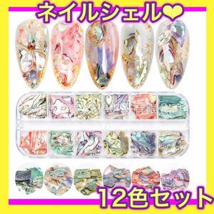 シェルフレーク 12種類 ネイル レジン ハンドメイド パーツ ジェル 貝殻シェル 貝殻