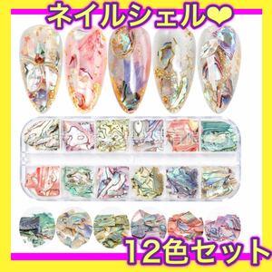 シェルフレーク 12種類 ネイル レジン ハンドメイド パーツ ジェル 貝殻