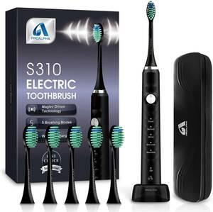 電動歯ブラシ 音波歯ブラシ ソニック USB充電式 IPX7防水 替えブラシ5本 5つのモード 歯ブラシ 電動歯磨き 収納ケース付き