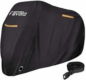 Favoto バイクカバー 紫外線防止 防風 防埃 防水 防雪 UVカット 丈夫 厚手 耐熱 盗難防止 収納袋付き 防風ベルト付き