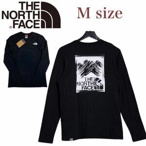 ノースフェイス ロンT 長袖 ボックス Tシャツ NF0A55ACL バックログ ブラック Mサイズ THE NORTH FACE STROKE MOUNTAIN TEE 新品