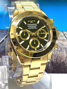 【即決 送料無料 セーム付き】 新品 テクノス TECHNOS 腕時計 クオーツ アナログ クロノグラフ ステンレスベルト 10気圧防水 ゴールド