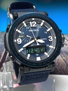 新品 カシオ Casio プロトレック PROTREK 腕時計 アナデジ タフソーラー トリプルセンサー 10気圧防水 ワールドタイム ネイビー ブルー