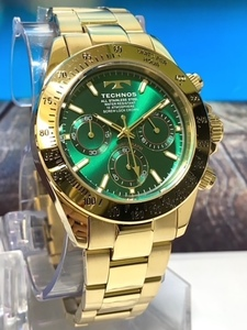【即決 送料無料 セーム付き】新品 テクノス TECHNOS 腕時計 クオーツ アナログ クロノグラフ ステンレスベルト10気圧防水ゴールドグリーン