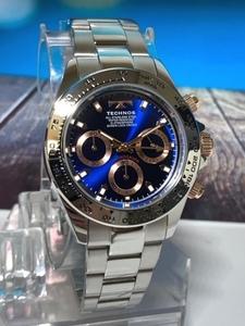 新品 テクノス TECHNOS 腕時計 メンズ アナログ クロノグラフ ステンレスベルト クオーツ オールステンレス ブルー ゴールド シルバー