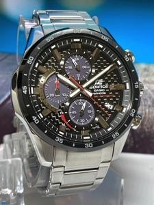 新品カシオCasioエディフィスEDIFICE腕時計メンズアナログソーラークロノグラフ10気圧防水ステンレスベルトブラックシルバー黒銀