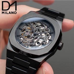 1円 新品 D1 MILANO D1ミラノ メンズ オートマチック スケルトン 5気圧防水 メタルバンド 機械式 自動巻 オートマティック オールブラック