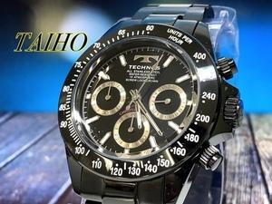 1円 新品 テクノス TECHNOS 腕時計 クオーツ アナログ クロノグラフ ステンレスベルト 10気圧防水 ブラック シルバー
