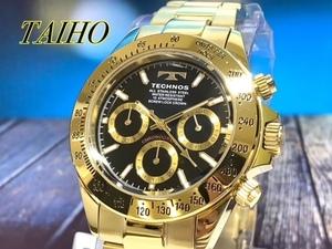 1円 新品 テクノス TECHNOS 腕時計 クオーツ アナログ クロノグラフ ステンレスベルト 10気圧防水 ゴールド ブラック