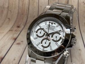 【即決 送料無料 セーム付き】新品 テクノス TECHNOS 腕時計 メンズ アナログ クロノグラフ ステンレスベルト クオーツ ホワイト シルバー